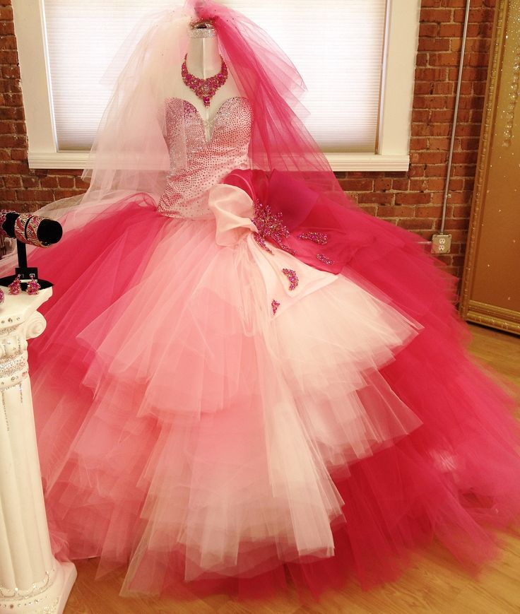 Pink Ombre Gypsy Wedding Dress By Crystal Couture Designer Sondra Celli Features 14000