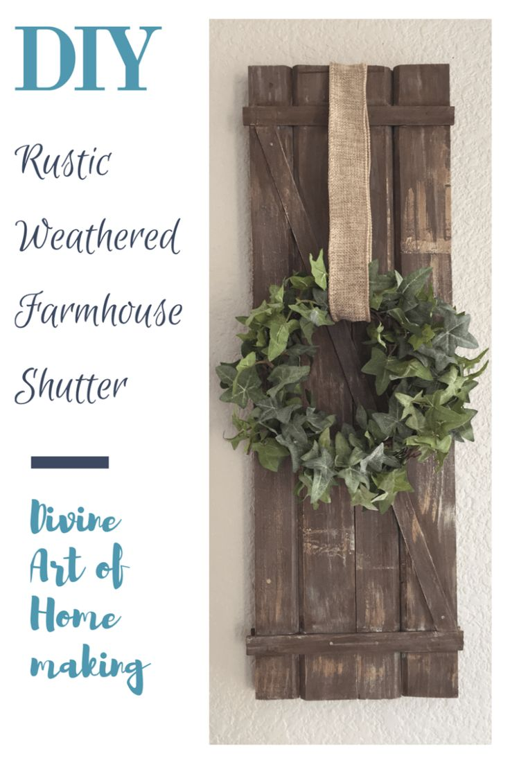 Diy rustic weathered farmhouse shutter from scrap wood