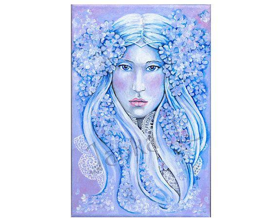 Original acrylic painting on canvas  The Bride flower fairy