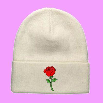 Rose beanie   cute cool kawaii tumblr flowers white black
