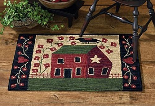 New Primitive Country Saltbox House Crow Star Heart Wool