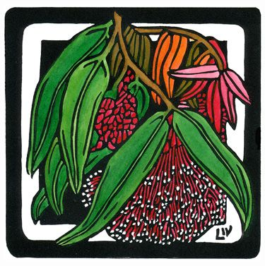 Powderpuff Lillypilly Square - Limited Edition Handpainted Linocuts by Lynette Weir