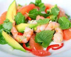Recette de Salade minceur avocat crevettes pamplemousse : http://www.fourchette-et-bikini.fr/recettes/recettes-minceur/salade-minceur-avocat-crevettes-pamplemousse.html