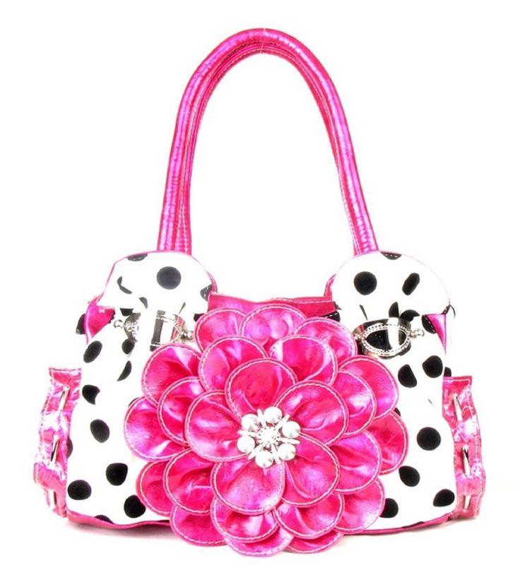 Pink Polka Dot Flower Rhinestone Fashion Purse  #HandbagsBlingandMore #Hobo