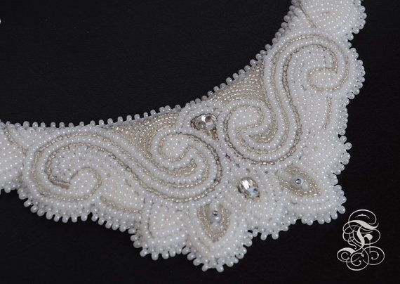 "Bead Embroidery Necklace ""Ice Queen"""