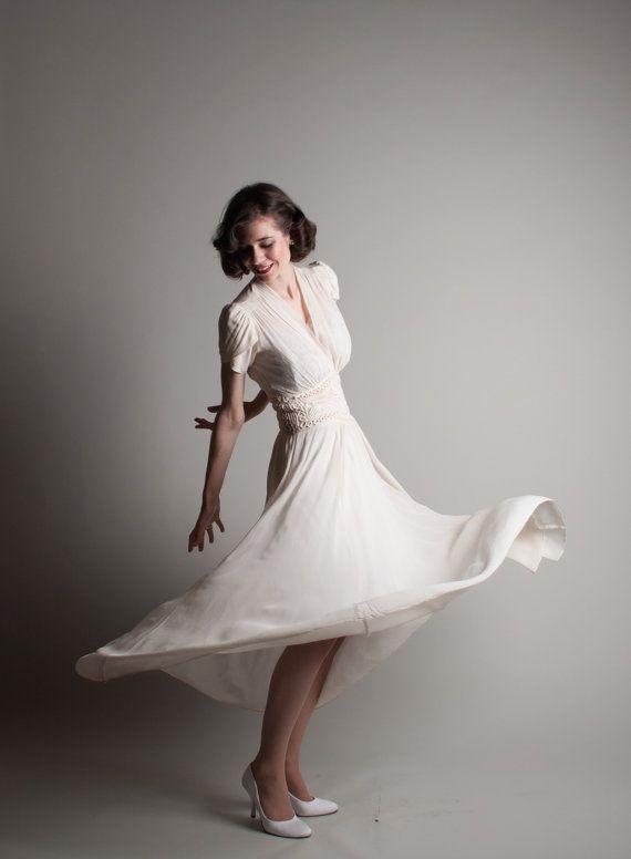 Vintage 1940s Chiffon Dress 40s Wedding Dress by concettascloset, $288.00