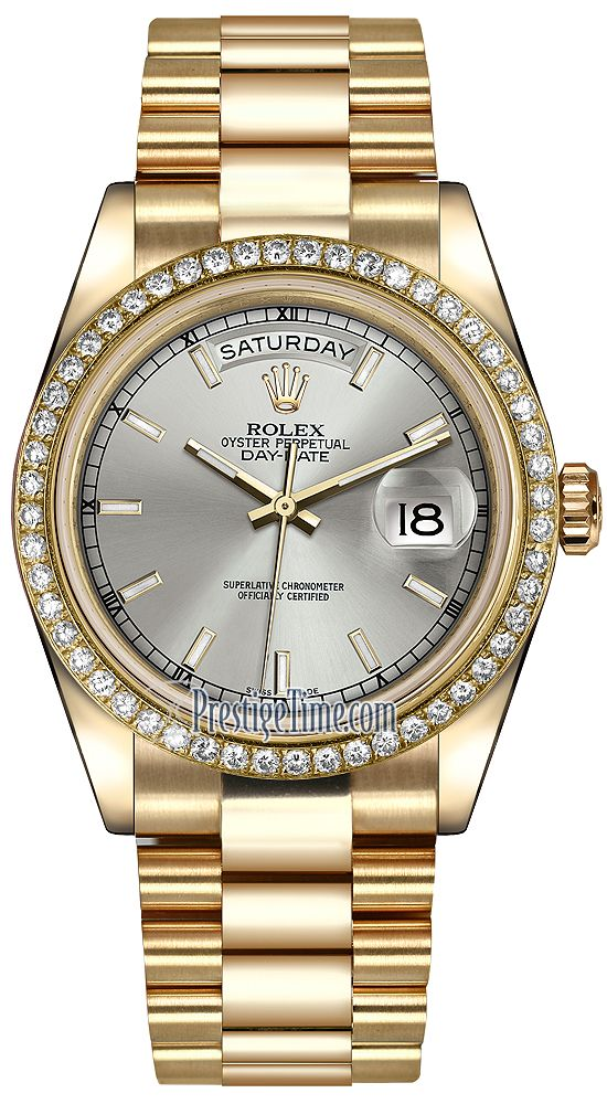 Rolex Day-Date 36mm Yellow Gold Diamond Bezel 118348 Silver Index President