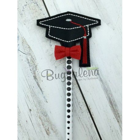 Graduation Cap Pencil Topper Embroidery Design