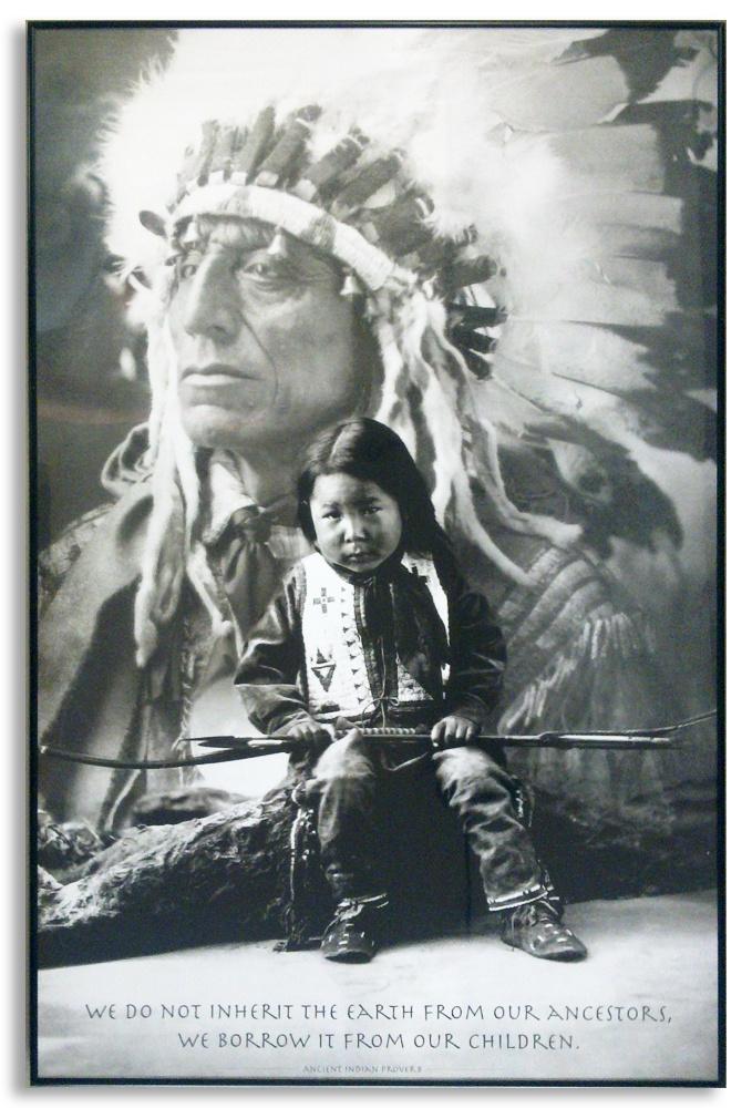 Indianin Plakat oprawiony w czarną aluminiową ramę.