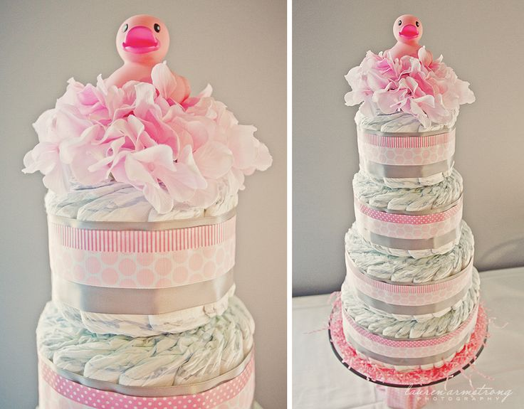 Pink Diaper Cake - #babyshowerPink Rubber Duck Baby Shower, Baby Girl Shower, Girls Shower, Duck Baby Shower Girl, Baby Shower