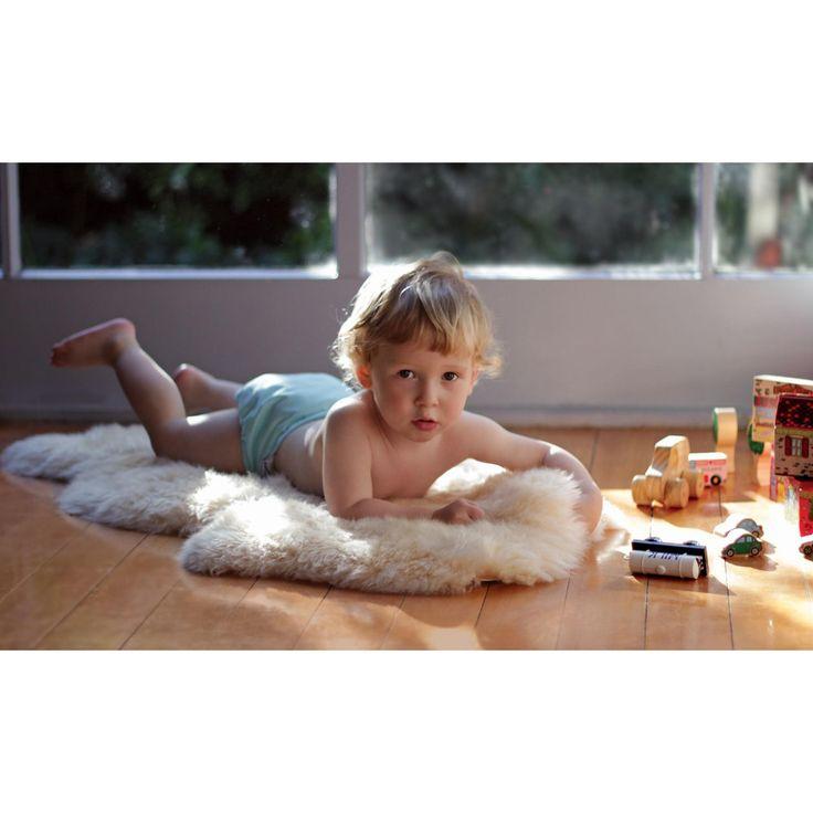 Bowron Babycare Unshorn Bone Lambskin Rug