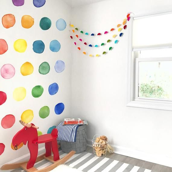 Large Rainbow Watercolor Dots Fabric Wall Decal Color Story