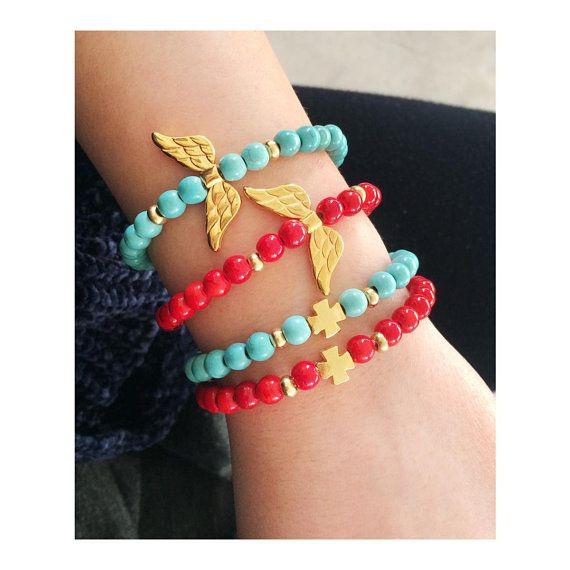 semi precious stones jewelry, gemstone bracelet, greek jewelry, gold cross bracelet, turquoise gemstone, red fossil bracelet, gold wings
