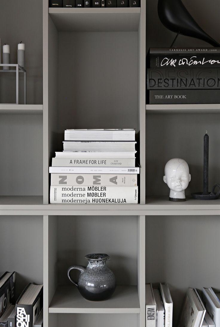 Gray DIY bookcase