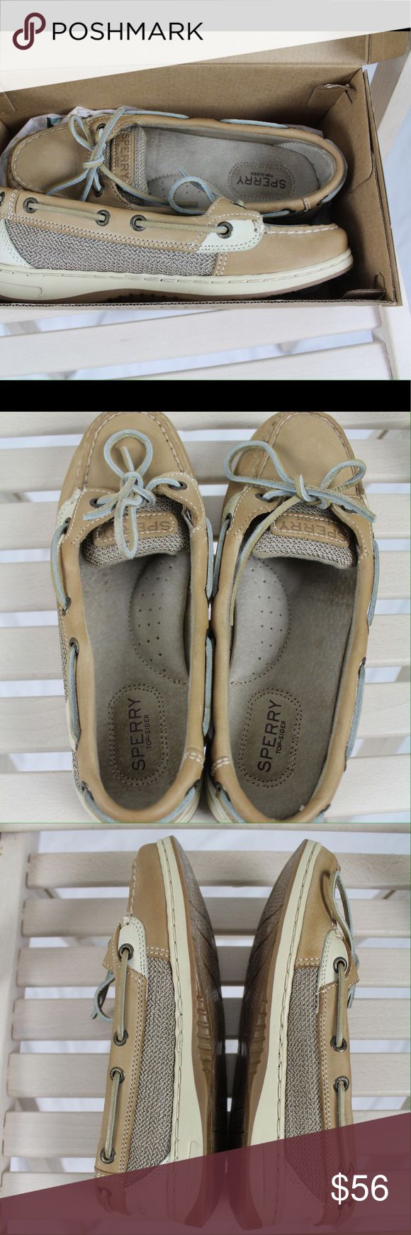 Sperry Angelfish Size 7 M In Box, Linen/Oat color This is a pair of Sperry Angelfish topsiders in Linen/Oat, women's size 7 Medium. Current model; purchased in May 2017. Worn by daughter one day. Unable to return after wear- she needed a 1/2 size larger. Details in Comments due to running out of space for all the text here in the Description section.  Not a lot of wiggle room in price; these were $79 at DSW in May, 2017 and were worn ONE DAY. So no, they are not NEW in box but they are…