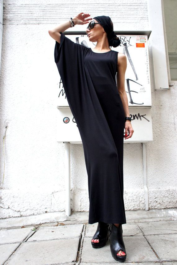 Asymmetrical Black Kaftan / Off Shoulder Dress / Maxi by Aakasha, $79.00