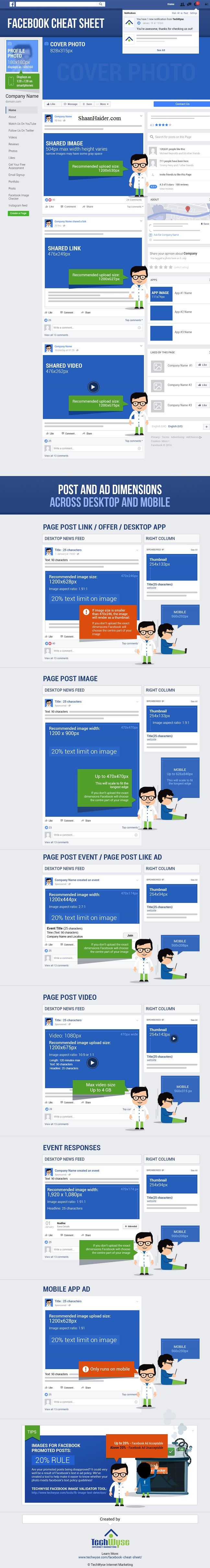 Facebook Image Size and Dimensions Cheat Sheet for 2017 (Infographic) - www.ShaanHaider.com
