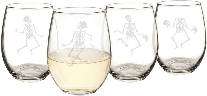 So funny! Cathy's Concepts Dancing Skeletons Set Of 4 Stemless Wine Glasses #halloween2017 #Halloweendecor #halloweendecor #wine #winelovers #Skeleton #giftideas #gift