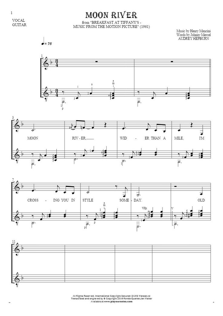 Moon River sheet music by Audrey Hepburn. From album Breakfast at Tiffany's - Music from the Motion Picture (1961). Part: Notes and lyrics for vocal with guitar accompaniment.