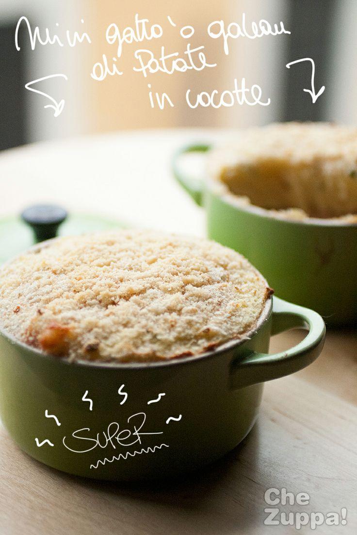 Mini Gateau di patate o Gattò!   http://www.chezuppa.com/recipe/mini-gateau-o-gatto-di-patate/  #gateau #patate #secondipiatti #sformato #cocotte #lecreuset