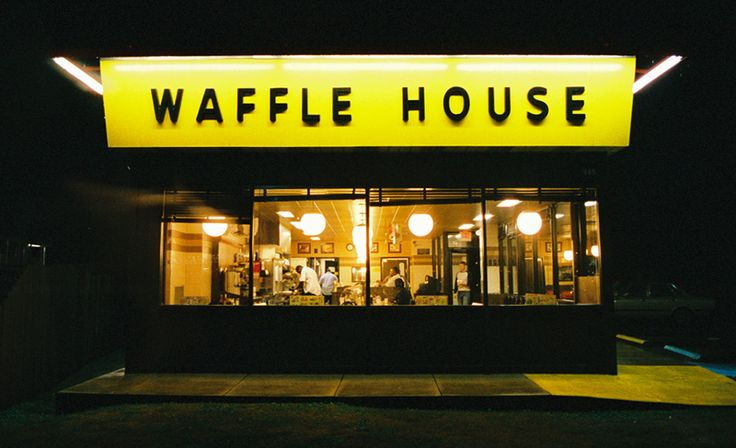 Waffle House. Located all over the Southeastern US.