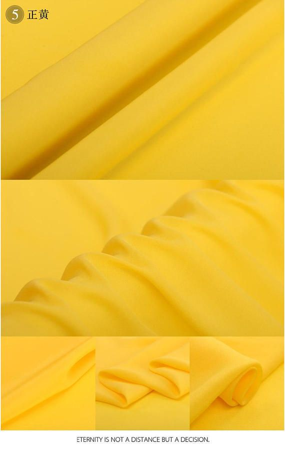 Yellow 100% Silk Crepe de Chine  16m/m Solid Lining Fabric by