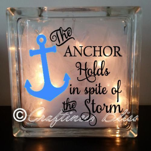 Glass Block with interior lights and ribbon.  Choice of painted or custom vinyl nautical anchor design.