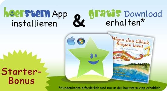 """die hoerstern-App  App installieren und Download """"kassieren"""" ;-) Die hoerstern-App ist eine kindgerechte Desktop-Anwendung zum Downloaden und Abspielen von hoerstern-Einkäufen // inkl. Spaß und Spiel :-)"""
