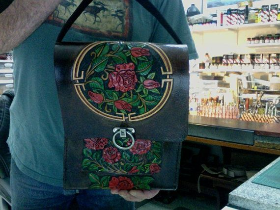 Leather Purse / The Rose Garden / Leather Messenger Bag / I Pad / Tablet, Organizer / Bag / Purse / Carved and Tooled / I Pad Case