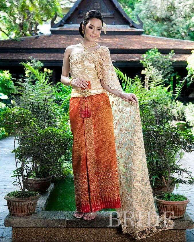 Thai Wedding Dress Outfit in Golden Red 125.00
