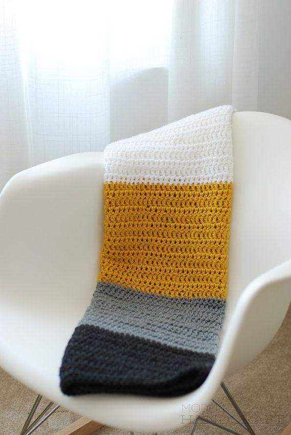 Crochet Baby Blanket Mustard White Gray by ModernHandcraft, $40.00