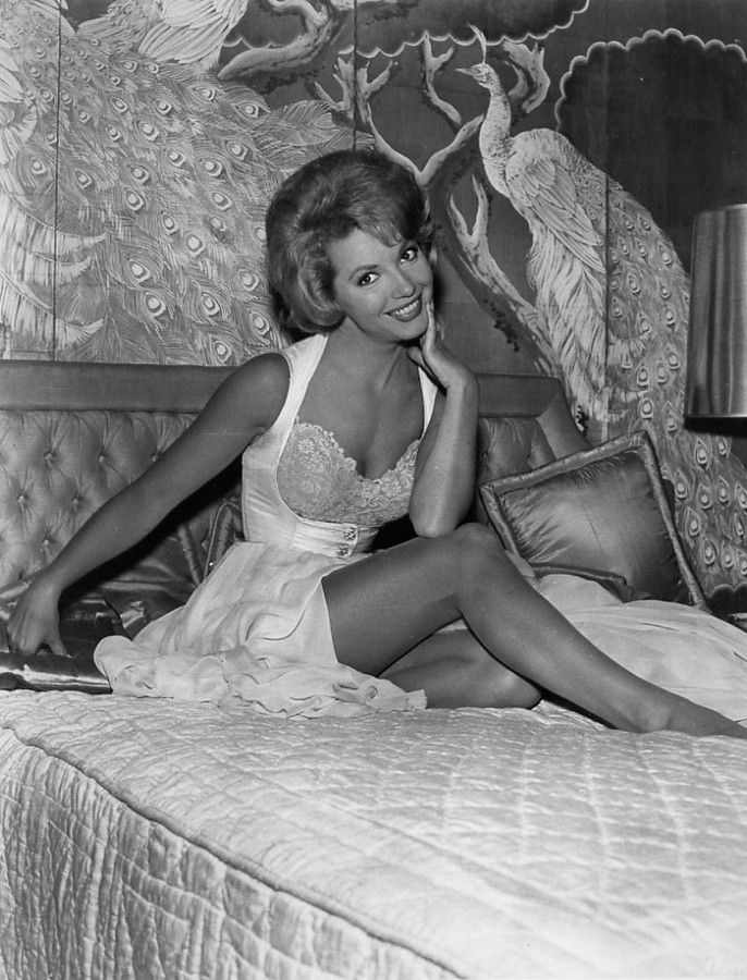 Ruta Lee 1963 - I love the bodice on that dress/nightie?? what is it, I don't know, but the bodice is great