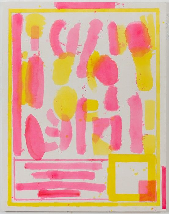 FOOD PLUS DRUG II (Yellow / Pink) 2012 Acrylic and coloured pencil on canvas by Matt Connors