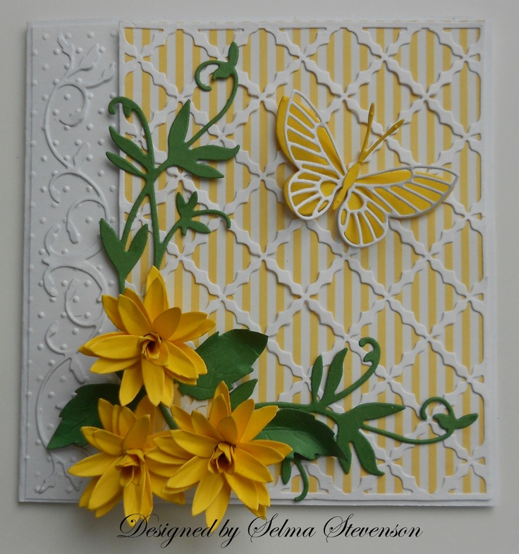 'Yellow Flowers, Cheery Lynn Cards, Cards Ideas, Handmade Cards, Cards Butterflies, Selma Stamps, Yellow Butterflies, Butterflies Cards, Flower Cards