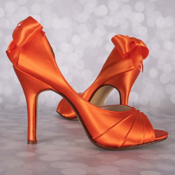 Orange Wedding Shoes Orange Wedding by EllieWrenWeddingShoe
