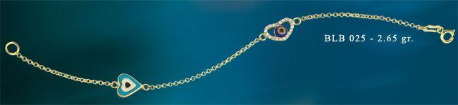 14K SOLID GOLD EVIL EYE GOOD LUCK ENAMEL LOVE BRACELET BLB025 #BeeloGold #Chain