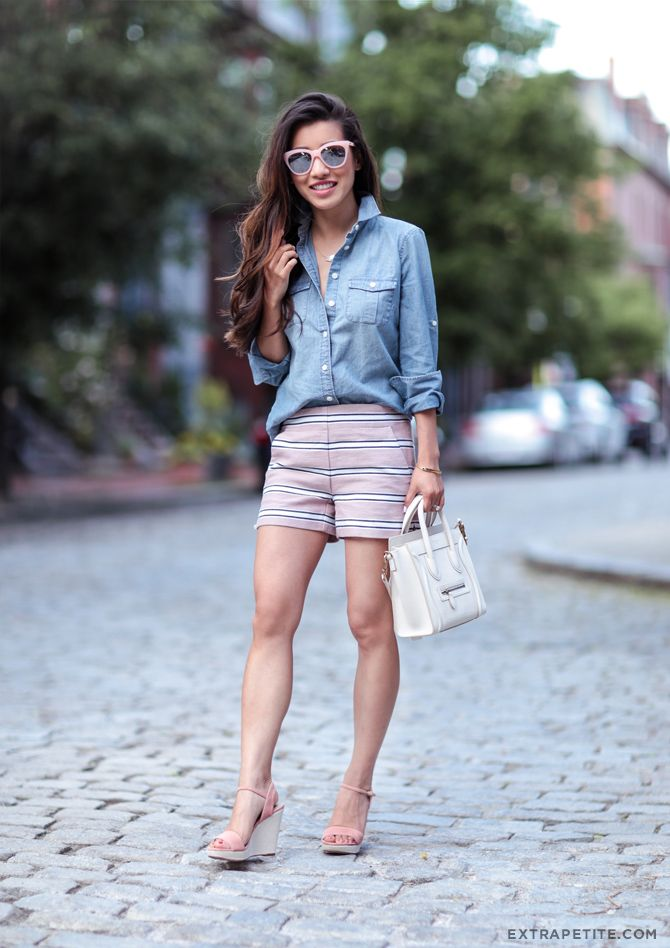 Casual Summer outfit, Loft petite pink striped shorts, chambray shirt, and wedges