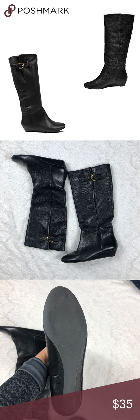 Steve Madden INTYCE Boots The INTYCE is just plain gorgeous! Show off the buckle detail by pulling them over your skinny jeans, or pair them with your favorite mini dress for a full-blown fashion look. Pre-owned in good condition very little signs of wear, see pictures.  Leather upper material Man-made sole 1 inch sliver wedge Approx. 20 inch shaft circumference 15.75 inch shaft height Steven by Steve Madden Steve Madden Shoes Heeled Boots