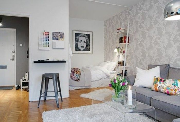 plan studio 20m2, déco studio étudiant, parquet clair, tapis blanc