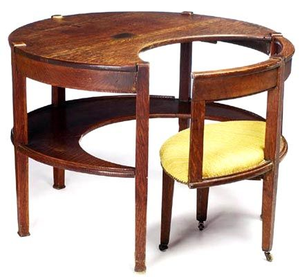 modern furniture making. arts u0026 crafts desk circular form with a hinged chair and lower shelf original finish overall roughness x itu0027s easy to see the beginning of modern furniture making d