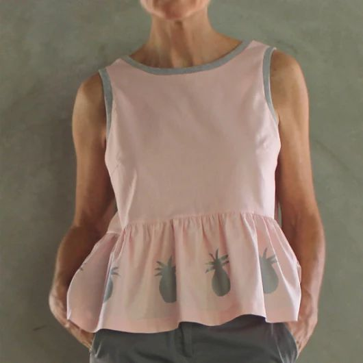 Pink Peplum Crop Top Top with Hand Painted Silver by mijentto
