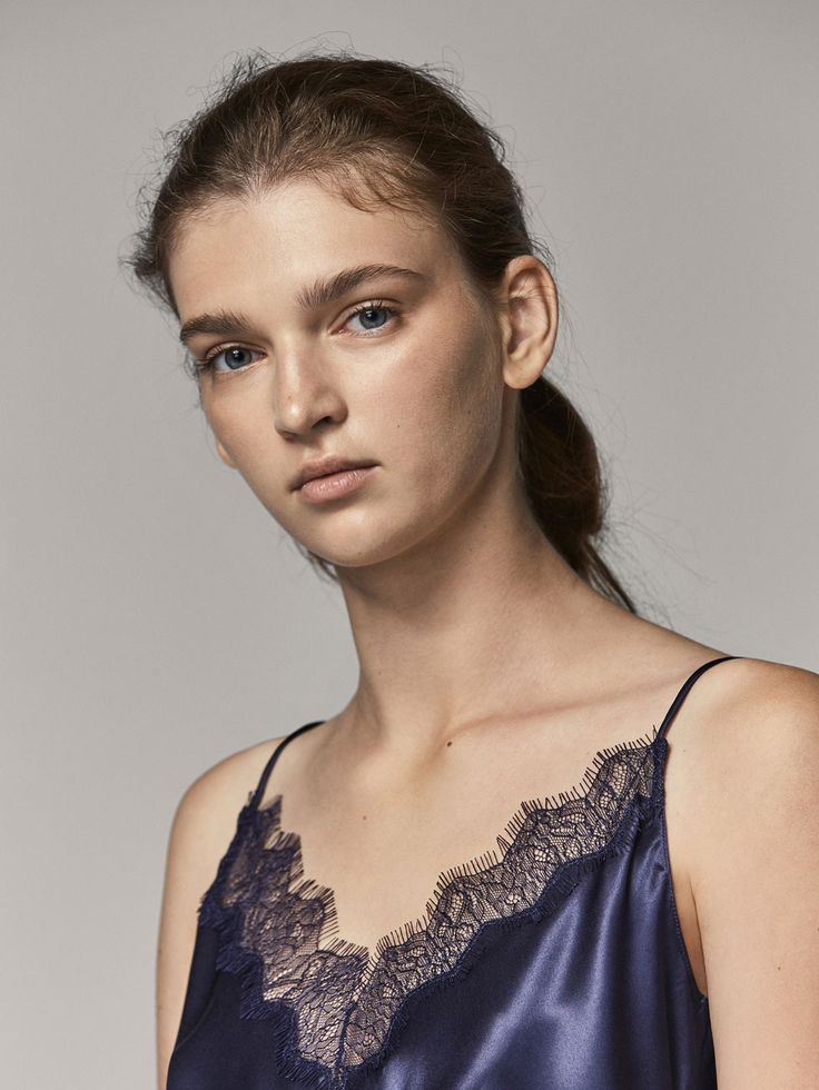 Fall Winter 2017 Women´s SILK TOP WITH LACE DETAIL at Massimo Dutti for 69.5. Effortless elegance!
