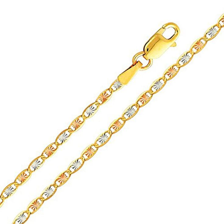 2f3a4b082dbd7 14K Yellow, Rose And White Gold Tri-Color Valentino Chain 3.6 mm ...