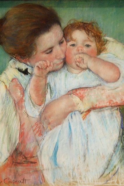 Mother and Child by Mary Cassatt.   I like this picture because the mother is snuggling the baby.