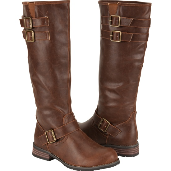 brown riding boots, or any flat brown boots .