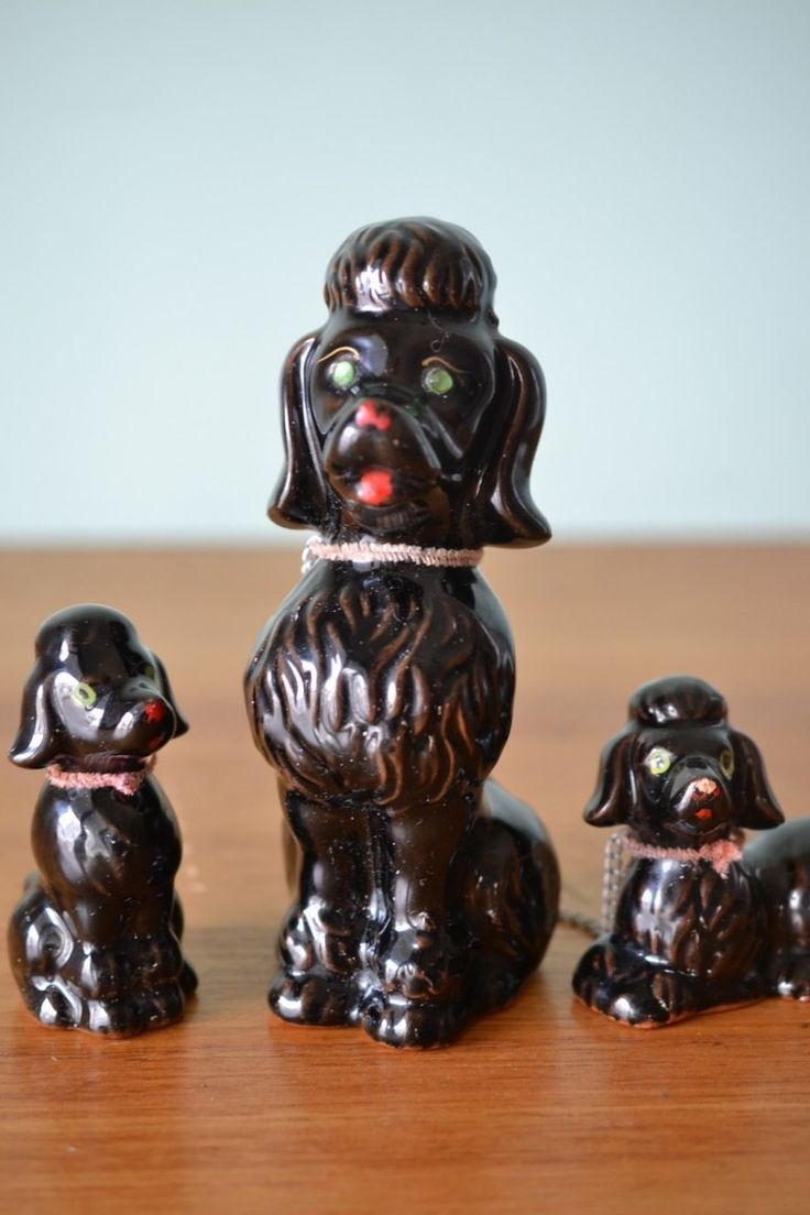 Vintage ceramic black poodle dog and puppies Japan - Funky Flamingo