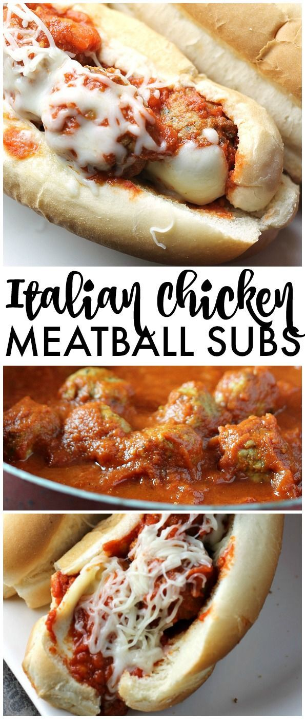 Easy Italian Chicken Meatball Subs smothered in a homemade marinara sauce and topped with provolone and mozzarella cheese! | Persnickety Plates AD
