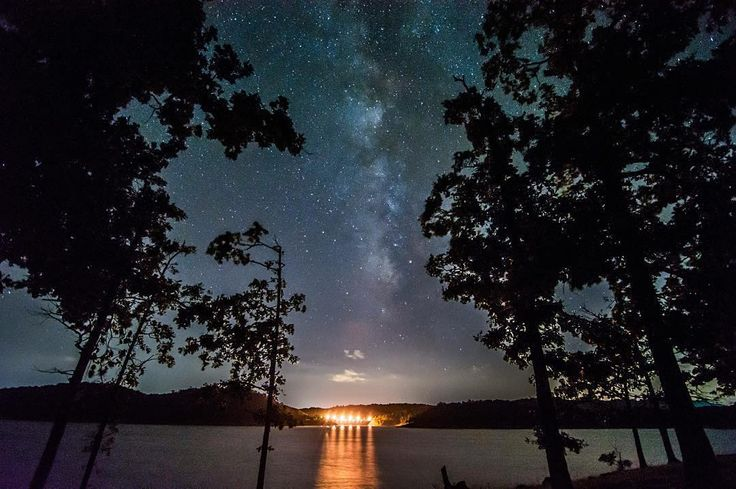 Hike along Crystal Point at Broken Bow Lake for starlit views of Beavers Bend State Park in southeastern Oklahoma. Photo by Stephanie of Roam on the Range Photography.