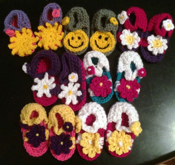 Crochet Baby Sandals  Flower selection. Sole by KraftyKiwis
