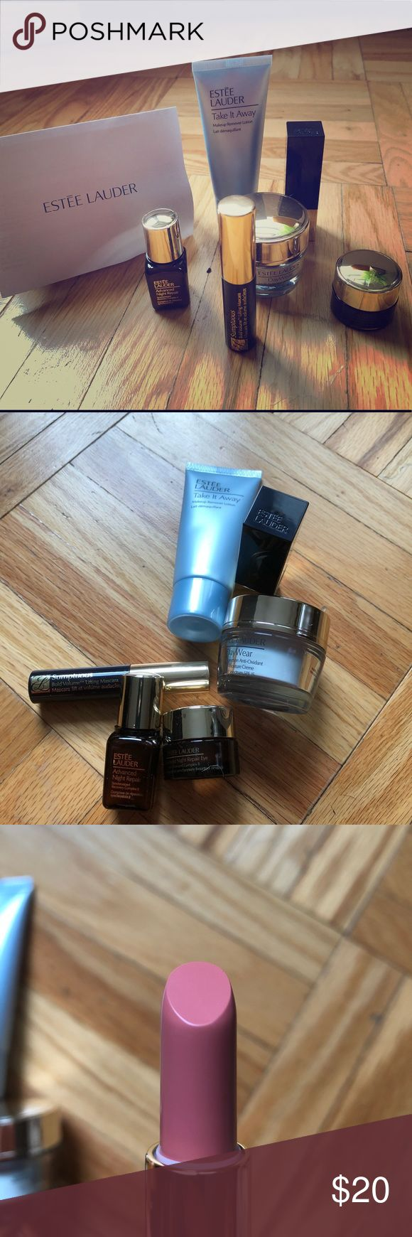 Estée Lauder travel kit All brand new. Travel sizes of: 📍Take it Away Makeup Remover Lotion📍Advanced Night Repair 📍DayWear Moisturizer📍Advanced Night Repair Eye 📍Sumptuous Bold Volume Lifting Mascara📍Pure Color Envy Sculpting Lipstick in Desirable. All made in USA, UK and Belgium. Estee Lauder Makeup